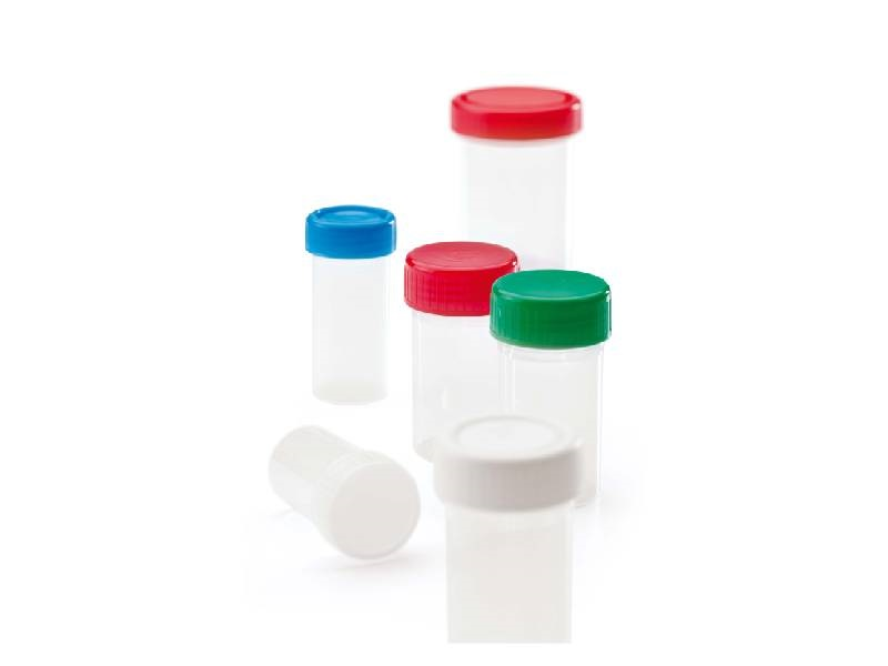 Disposable transparent container, around 60 ml, not serigraphed, red screw lid whit gasket