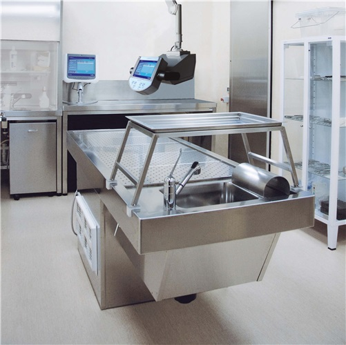 Pedestal autopsy table Zefiro with automatic elevating mechanism of the table top