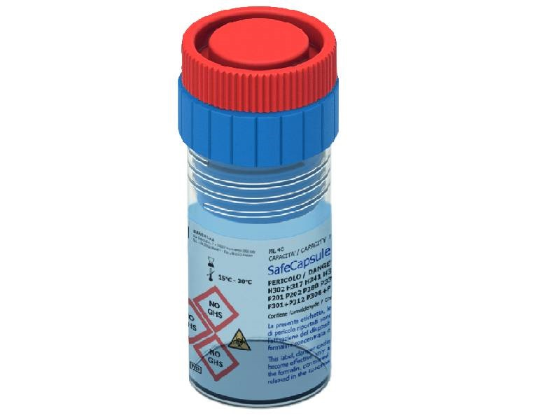 SafeCapsule – Safety red capsule, prefilled with formalin